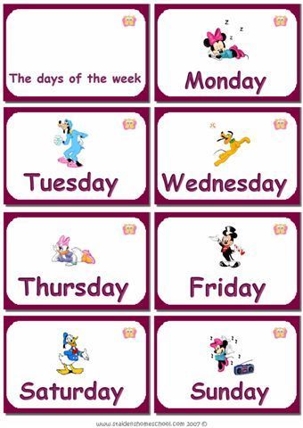 Printable days of the week - Flashcards For Learning ...