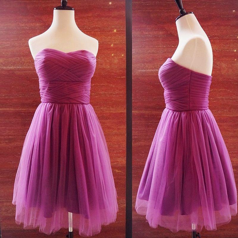 Dresscode Sleeveless Strapless Short Bridesmaid dress Purple ...
