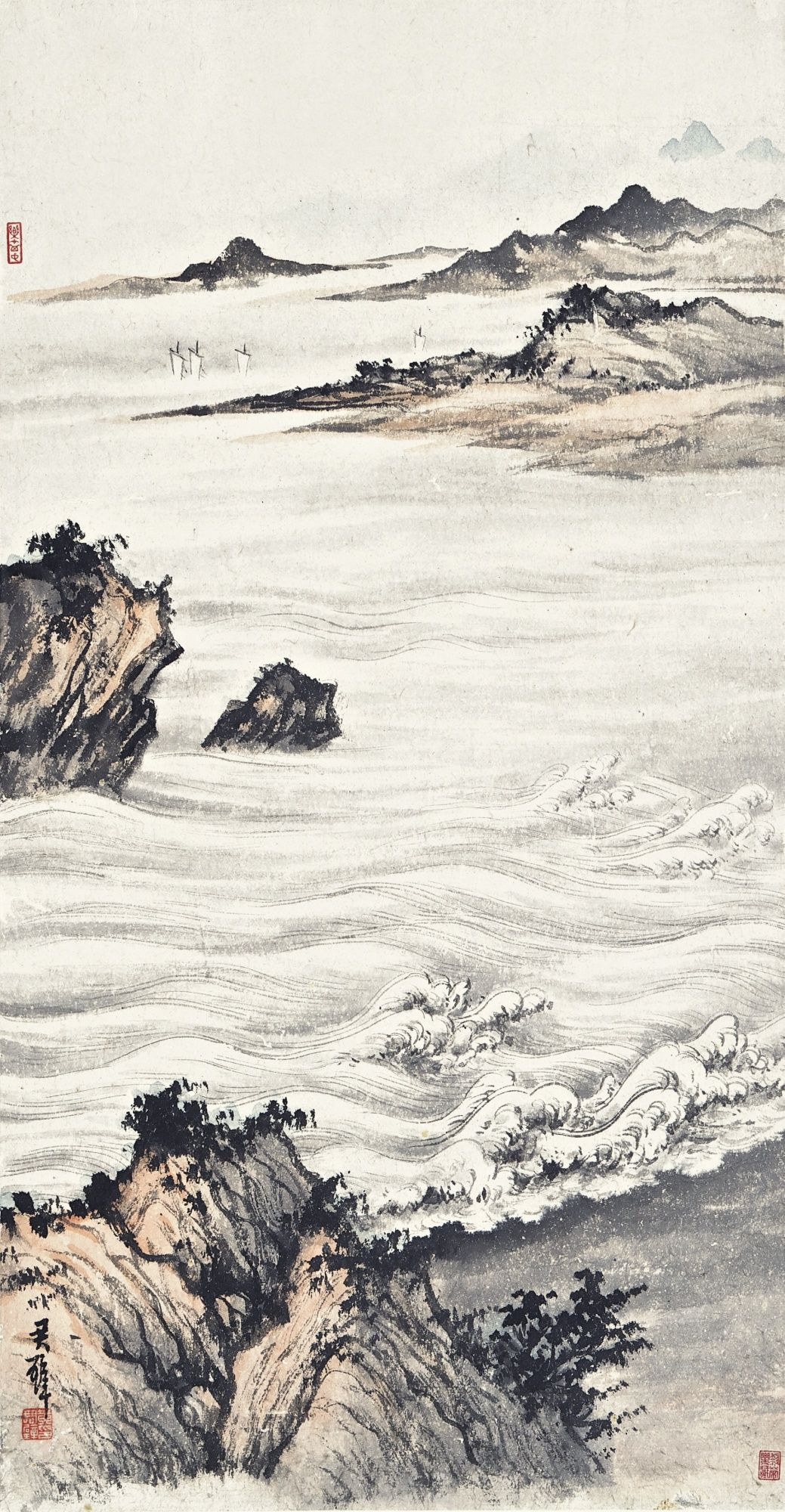 CRUSHING WAVES AGAINST THE SHORES by HUANG JUNBI, Lot | Sotheby's
