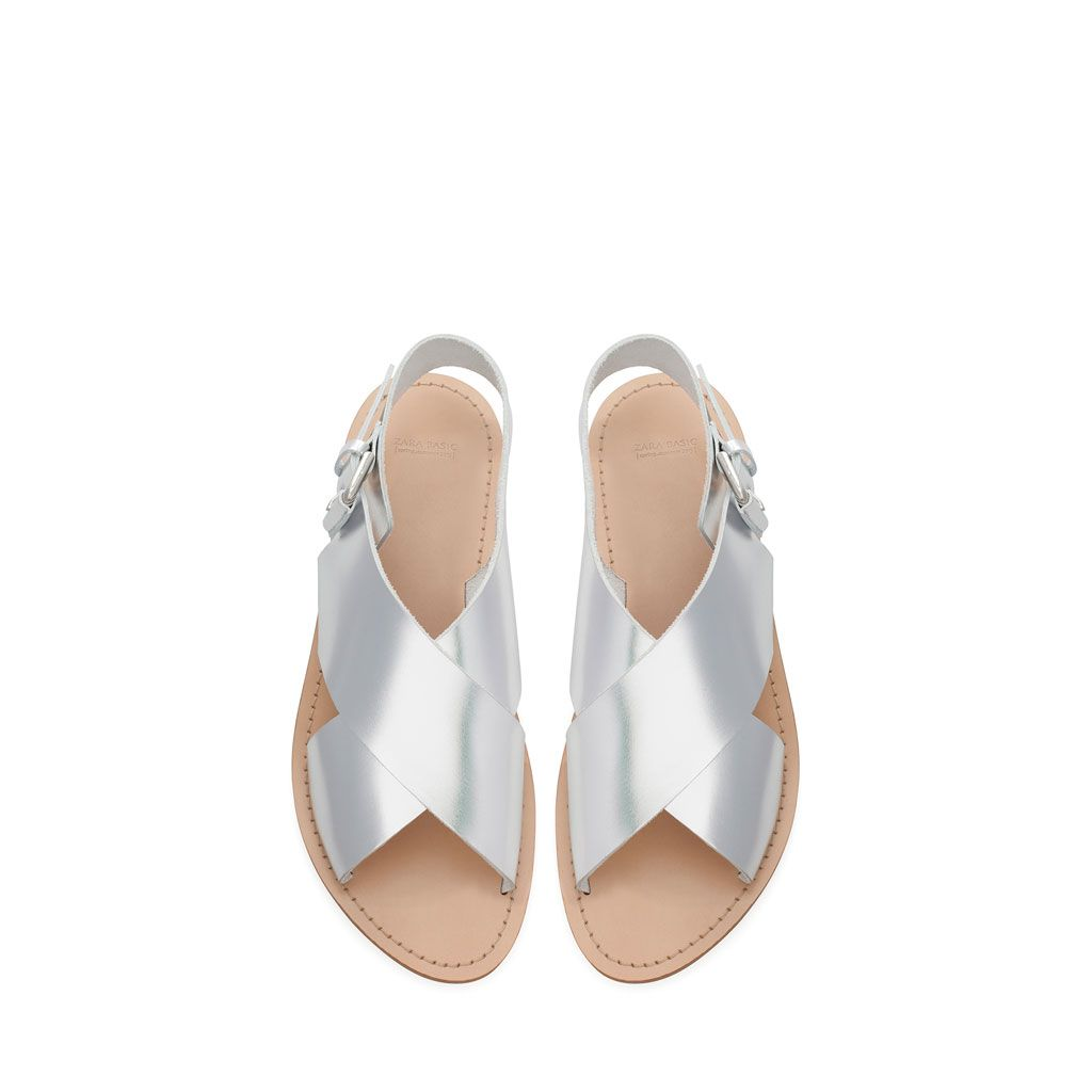 Image 2 of FLAT CROSSOVER METALLIC TONE SANDALS from Zara