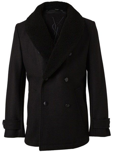 77268fe35321 Yves Saint Laurent Wool Peacoat with Shearling Collar in Black for ...