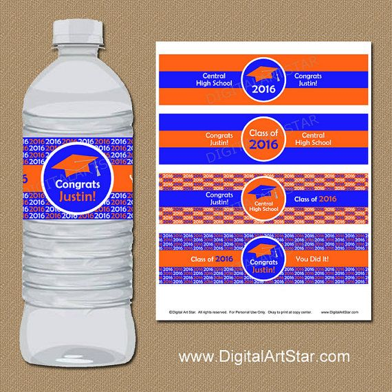 Blue and Gold GRADUATION PARTY FAVORS WATER BOTTLE LABELS