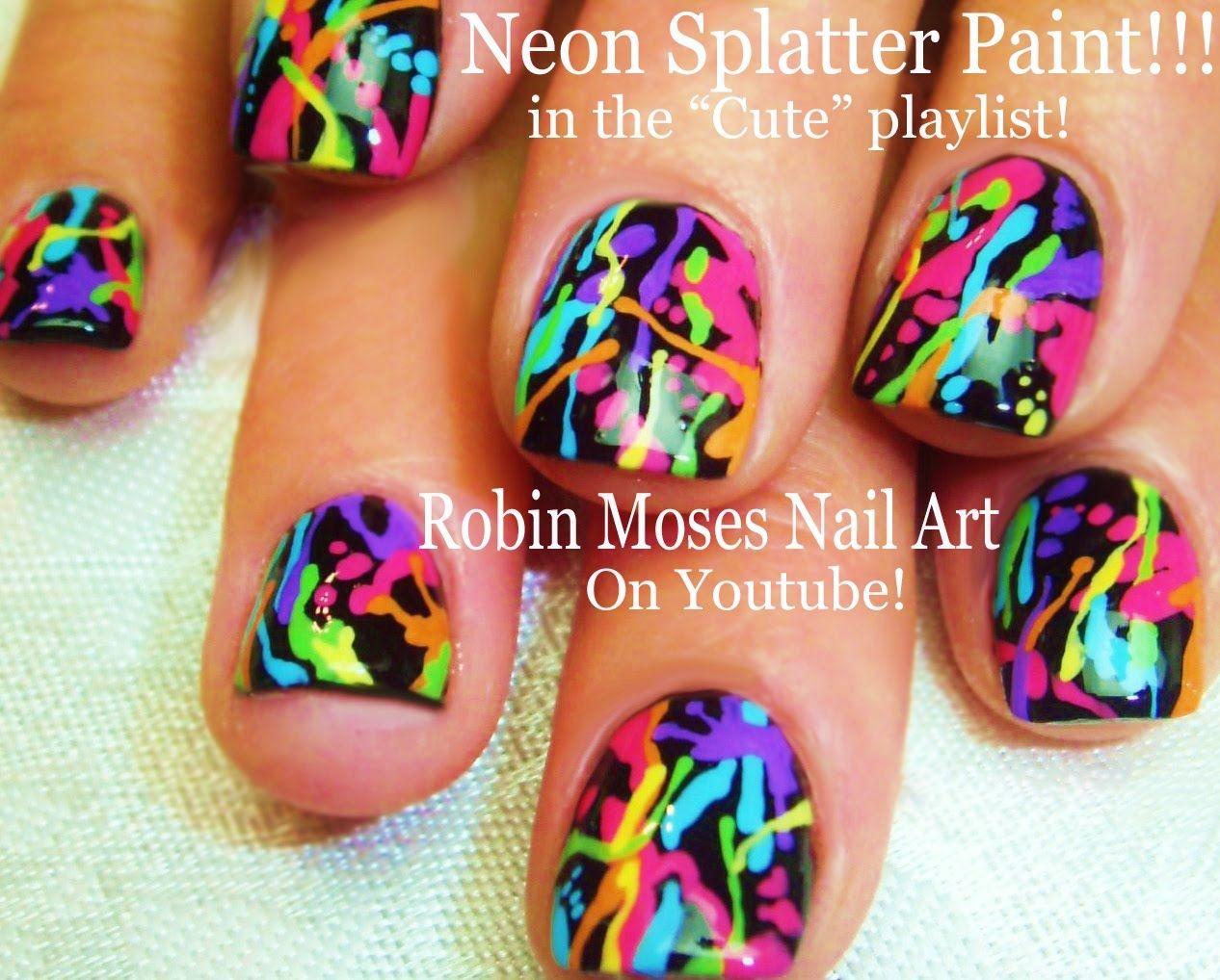 Nail Art Tutorial Diy Rainbow Paint Splatter Design Easy Short
