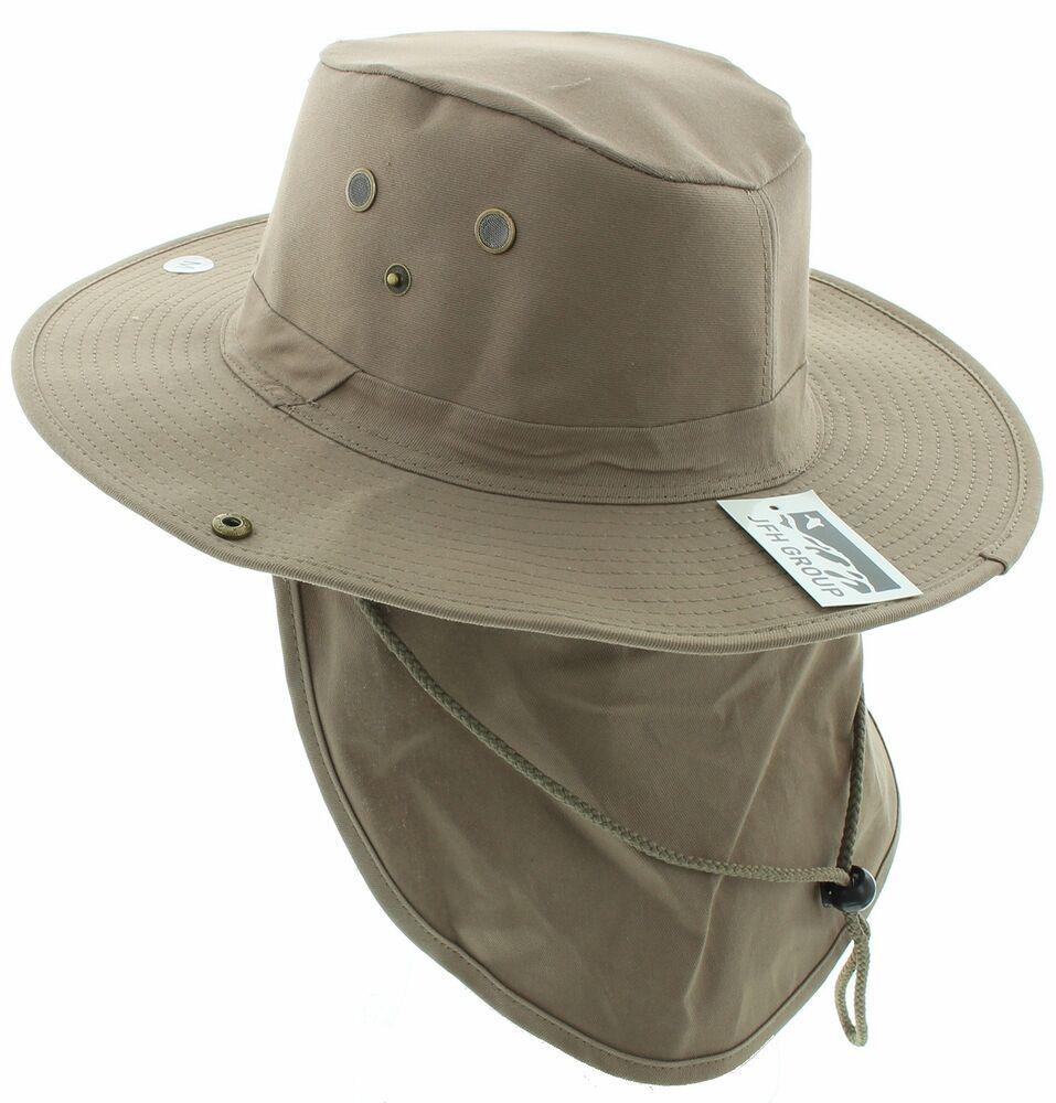 Jfh Group Wide Brim Unisex Safari Outback Summer Hat W Neck Flap Fb Khaki M Jfhgroup