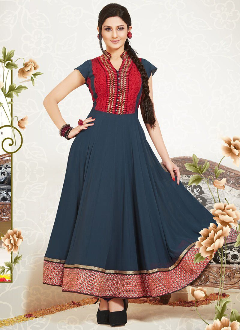 Alluring Kumud Blue Ankle Length Anarkali Suit | Indian fits ...