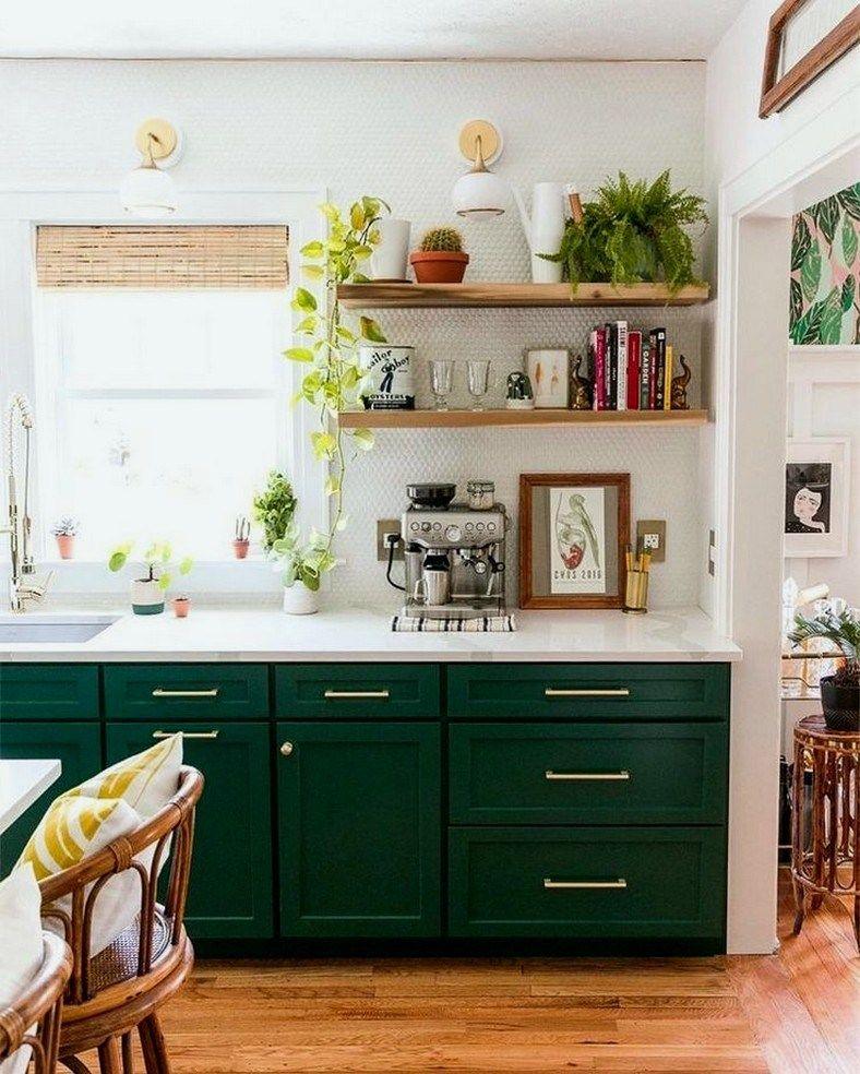 32 Small Kitchen Ideas 00001 Green Kitchen Cabinets Dark Green Kitchen Kitchen Furniture