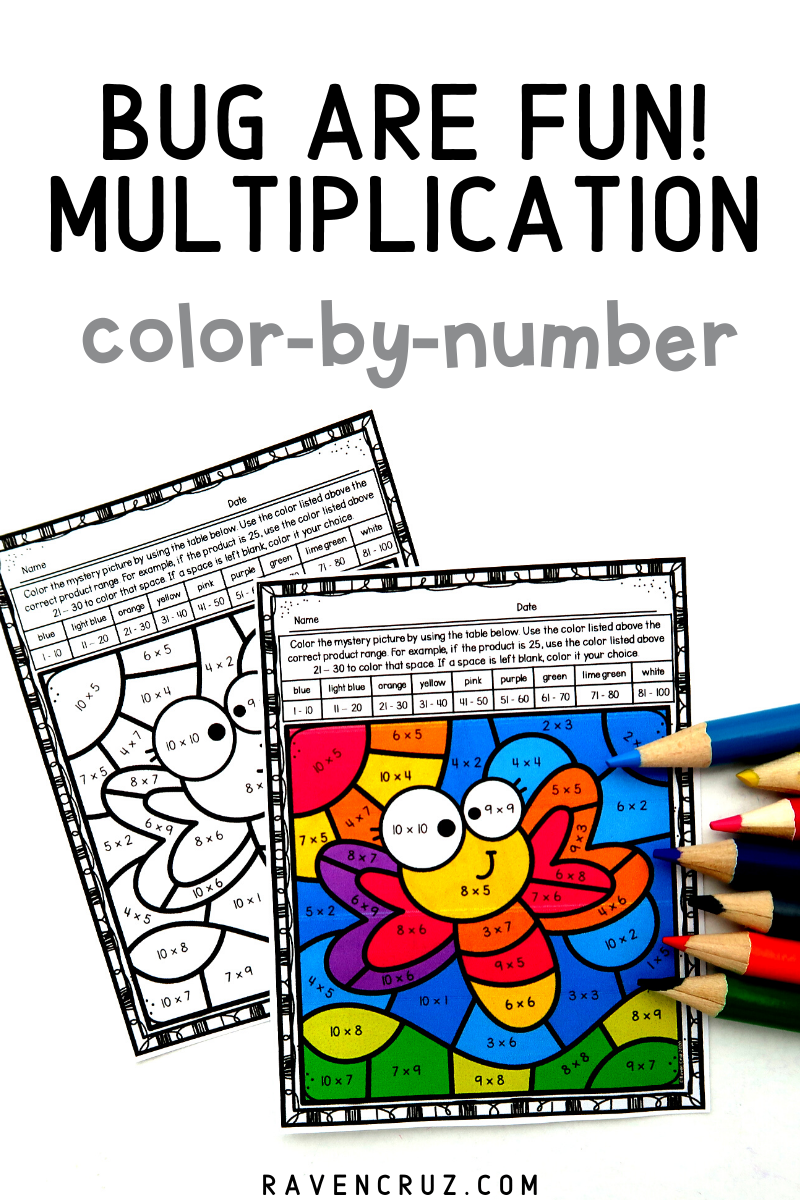 Bugs Multiplication Color By Number Worksheets Multiplication Elementary Math Centers Math Centers [ 1200 x 800 Pixel ]