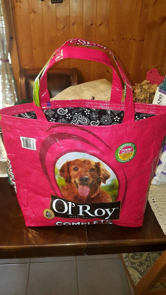 Recycled Feed Sack Ol Roy Dog Food W Paisly Bandana Liner To Be