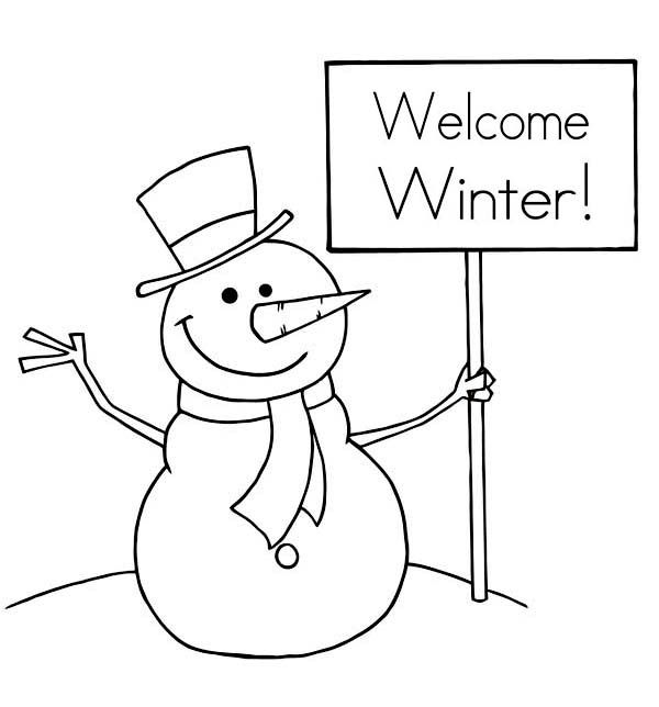 Mr Snowman Says Happy Winter Coloring Page  Free  Printable