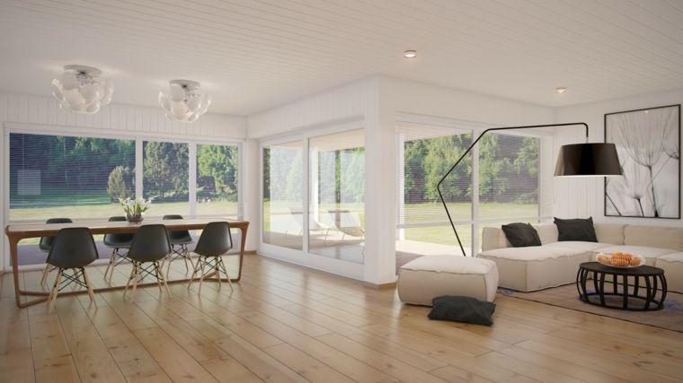 idea per arredare soggiorni moderni con divani bianchi e cuscini ...
