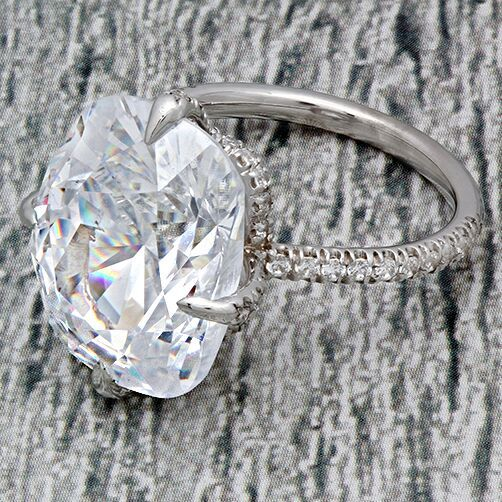 Cubic Zirconia Rings Engagement Rings Kardashian Style 16 Carat Radiant Cushion Cubic Zirconia Engagement Ring 14k White Gold Big Stone Ring Cubic Zirconia Engagement Rings 14k Engagement Ring