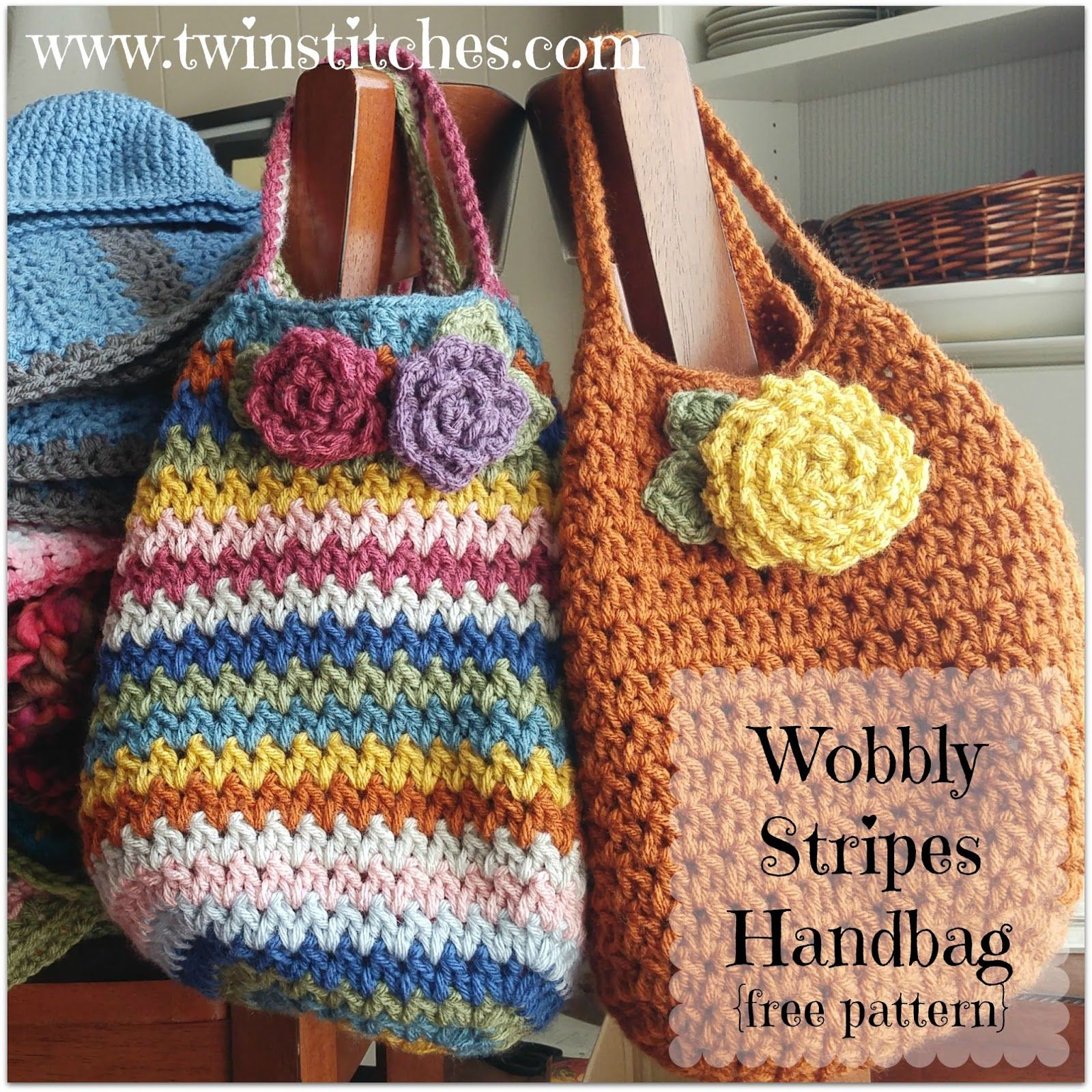 Tw-In Stitches: Wobbly Stripes Handbag - Free Pattern | Tw-In ...