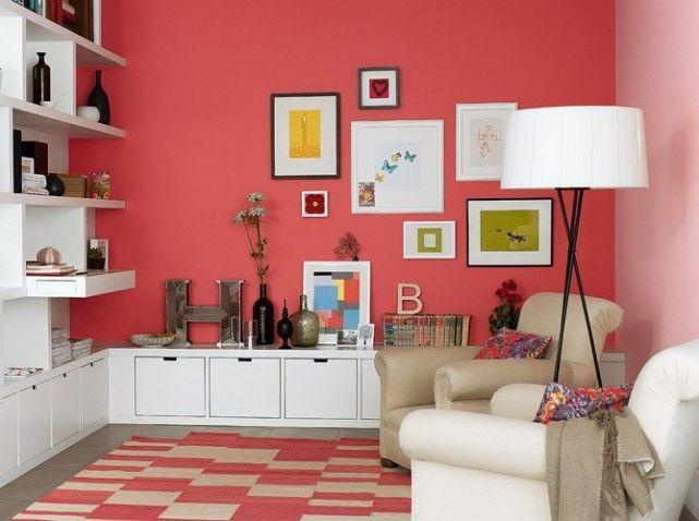 Tr s joli mur corail et jeu entre les casiers blancs et - Harmonisation des couleurs peinture ...