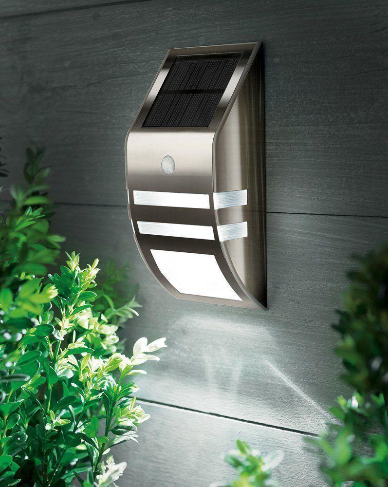 solar powered led security wall light spotlight pir sensor outdoor