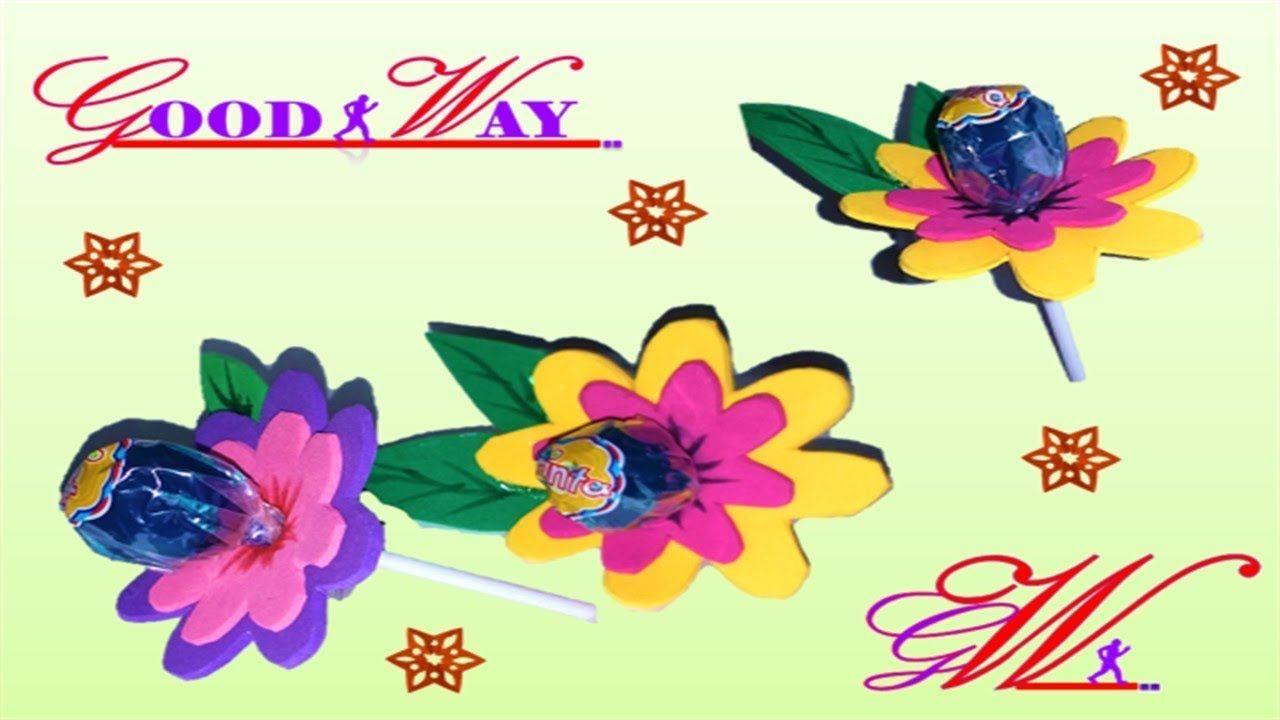 طريقة عمل تجهيزات وتوزيعات العيد والمناسبات للأطفال وردة 6 How To Mak Hand Art Crafts Diy And Crafts