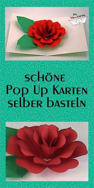 pop up karte rose basteln mit papier diy eine sch ne gl ckwunschkarte f r viele anl sse wie. Black Bedroom Furniture Sets. Home Design Ideas