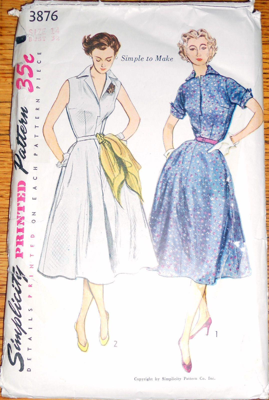Vintage 1950\'s SIMPLICITY ONE-PIECE DRESS Sewing Pattern SZ 14 #3876 ...