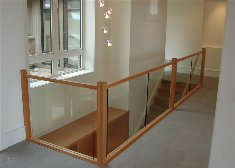Frameless Glass Railings Fir And ½ Tempered Glass | Wood And Glass Handrail