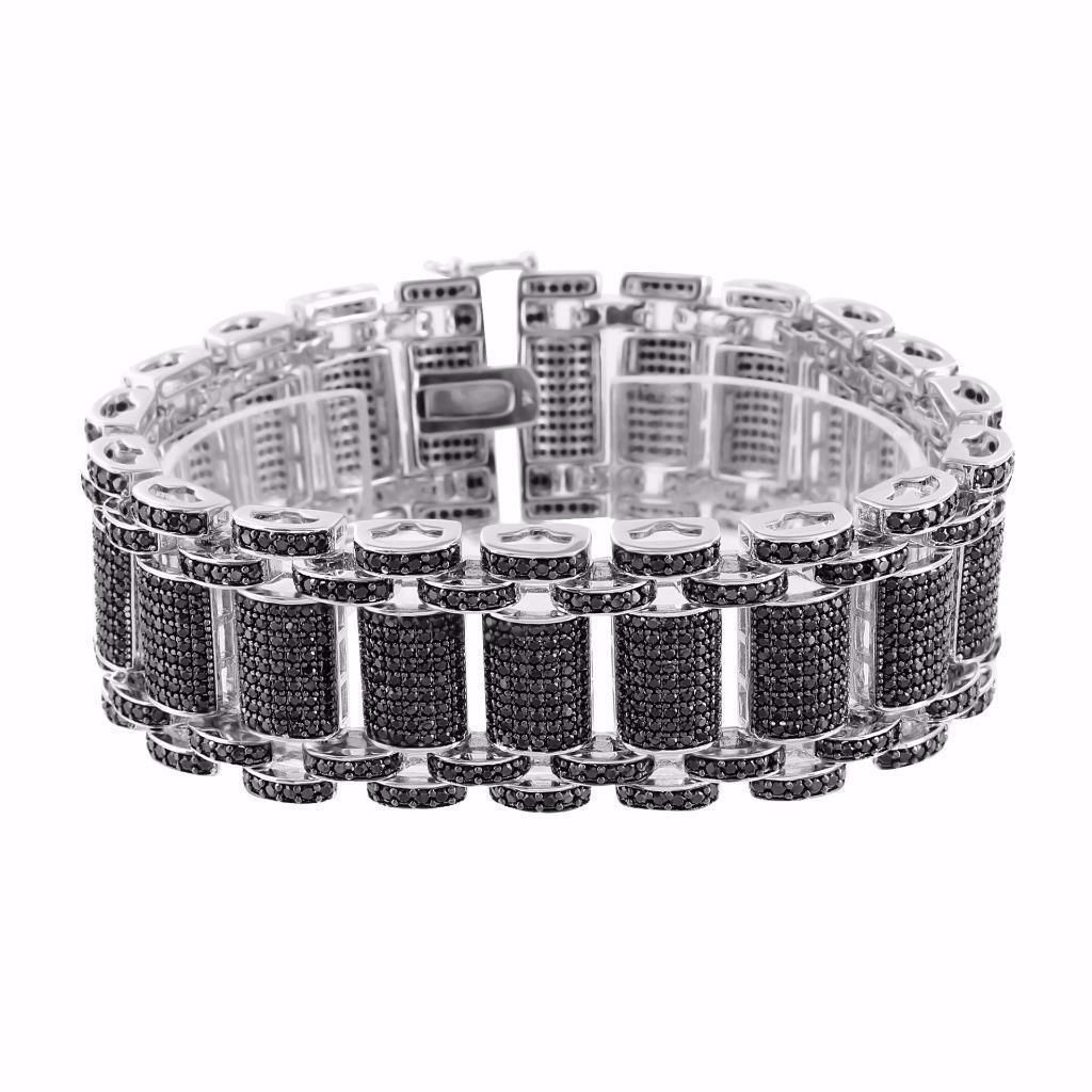 Black bar link bracelet black simulated diamond silver tone men hip