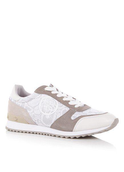 3ce89bd5182 Nieuwe Guess Sneakers Dames - Cate Sneaker Met Kant - Beige Online Kopen