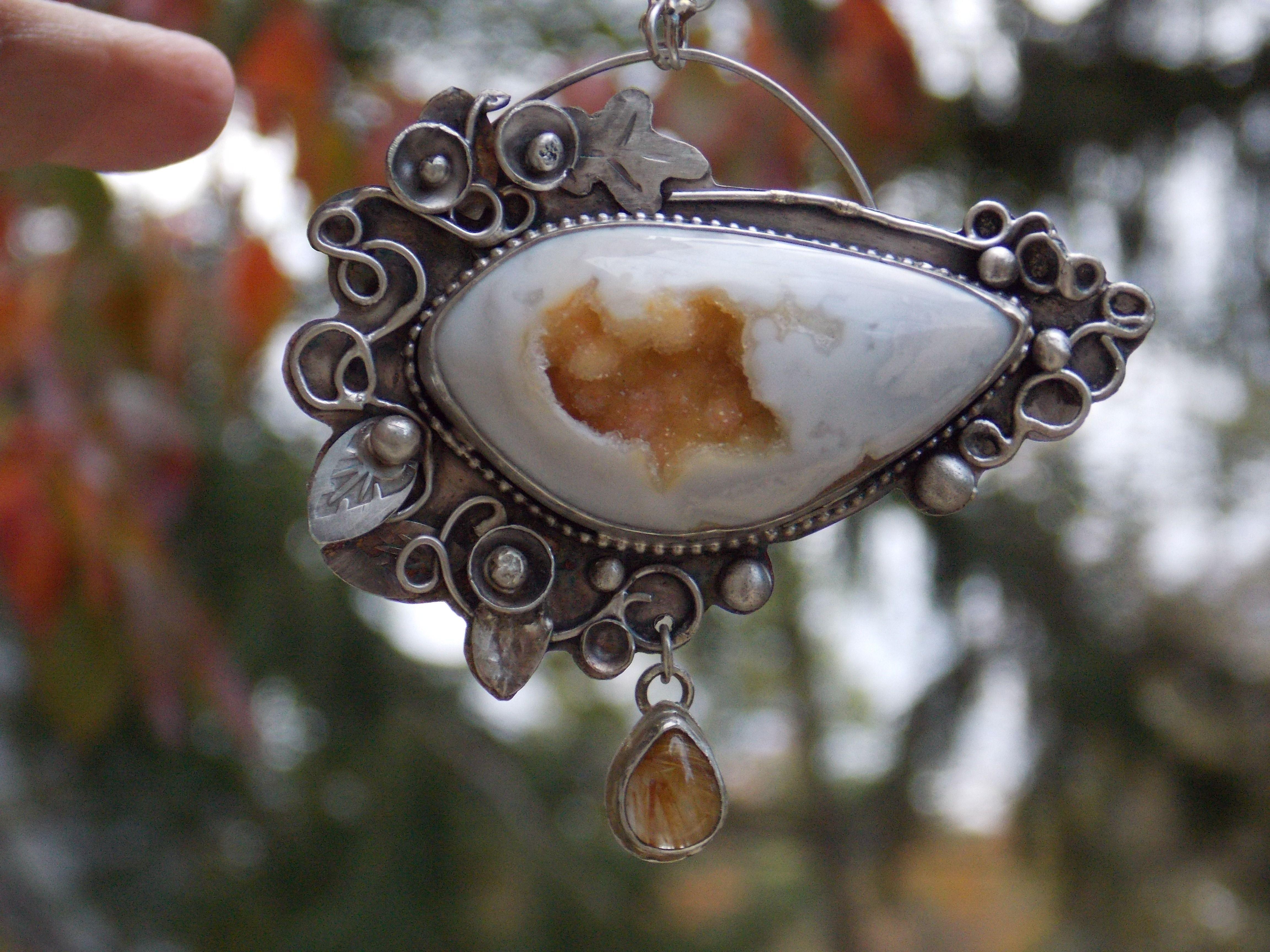 Artisan handmade OOAk sterling silver large natural stone Druzy jewelry sterling druzy pendant golden Rulite gemstone jewelry metalwork jewelry metal art jewelry metal smith jewelry artisan sterling jewerly