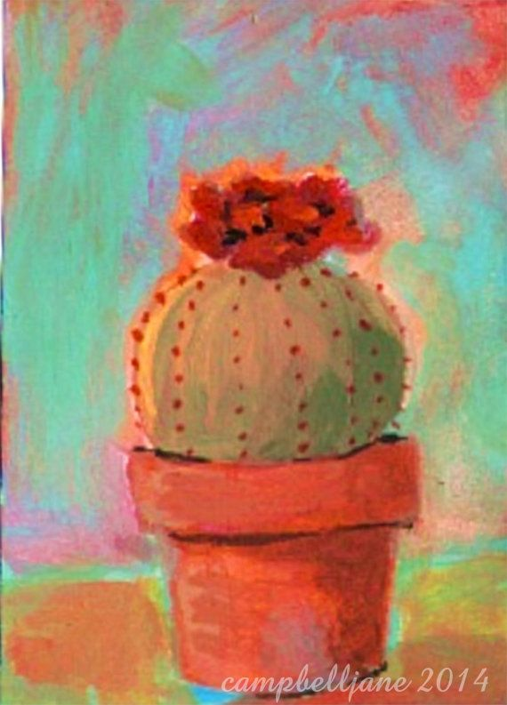 Colorful Flowering Cactus in a Clay Pot Print