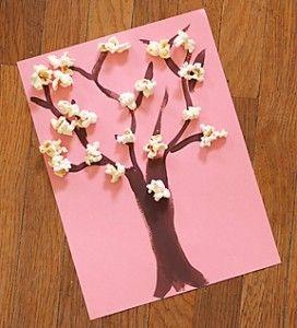 Popcorn Cherry Blossom Trees Spring Art Projects Spring Crafts Preschool Crafts