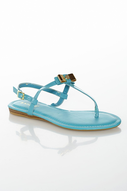 Bows for Toes Patent Light Aqua Sandal
