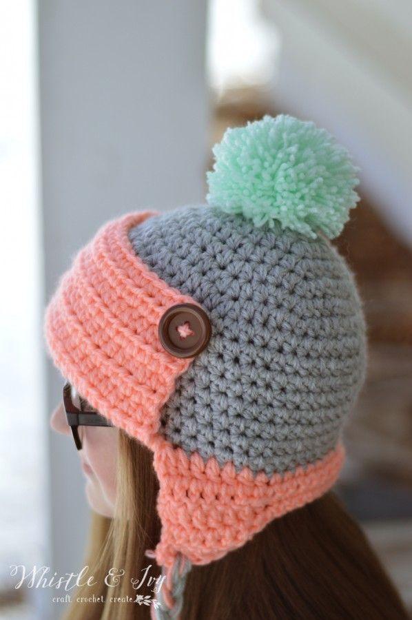 Women\'s Button Trapper Hat | Trapper hats, Hat crochet and Free crochet