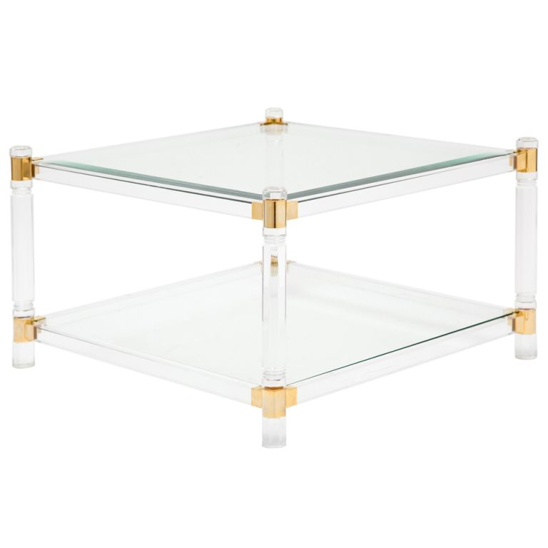 1970s French Vintage Lucite Br Gl Coffee Table