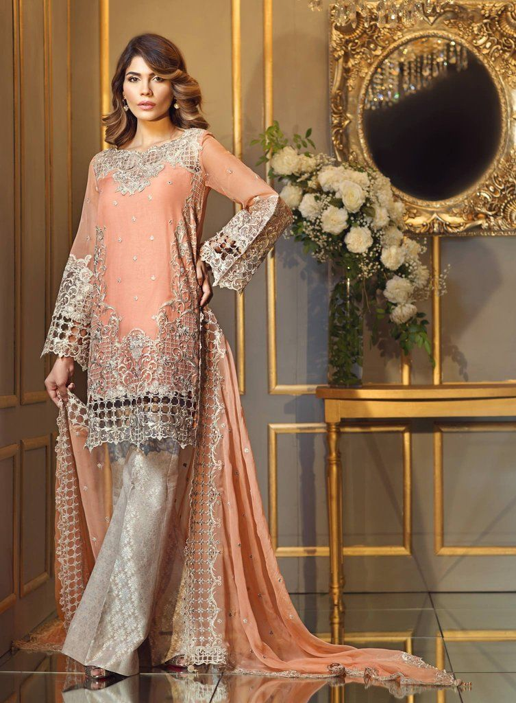 98f71b82ae Chiffon Dress by Anaya in Peach Pink Color with Threads Cutwork and Patch  Embroidery Online at Nameera by Farooq, Chiffon Dress with Work Embellished  with ...