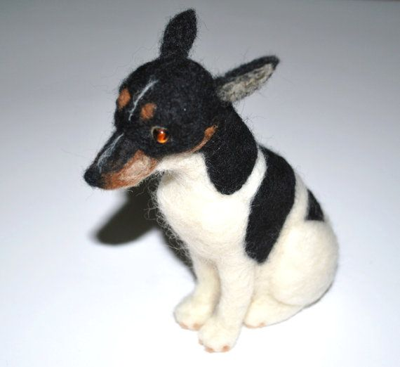 Hand Felted Miniature Rat Terrier Dog Needle Felted Rat Terriers