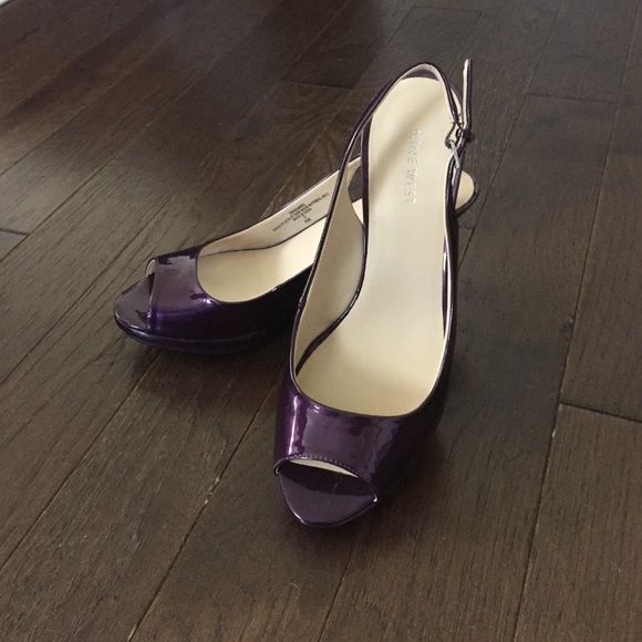 """NINE WEST Purple Patent Sling-Backs NINE WEST Purple Patent Sling-Backs - Size: 8.5M - Heel Height: 3 1/2"""" - Excellent Condition! Worn once as a bridesmaid (picture #4 on right) - Open to Offers - Comes with original Nine West box Nine West Shoes Heels"""