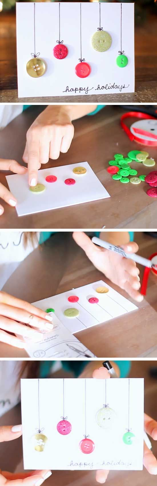 20 diy christmas cards that family friends will love diy glistening baubles 20 diy christmas cards for kids to make more kristyandbryce Image collections