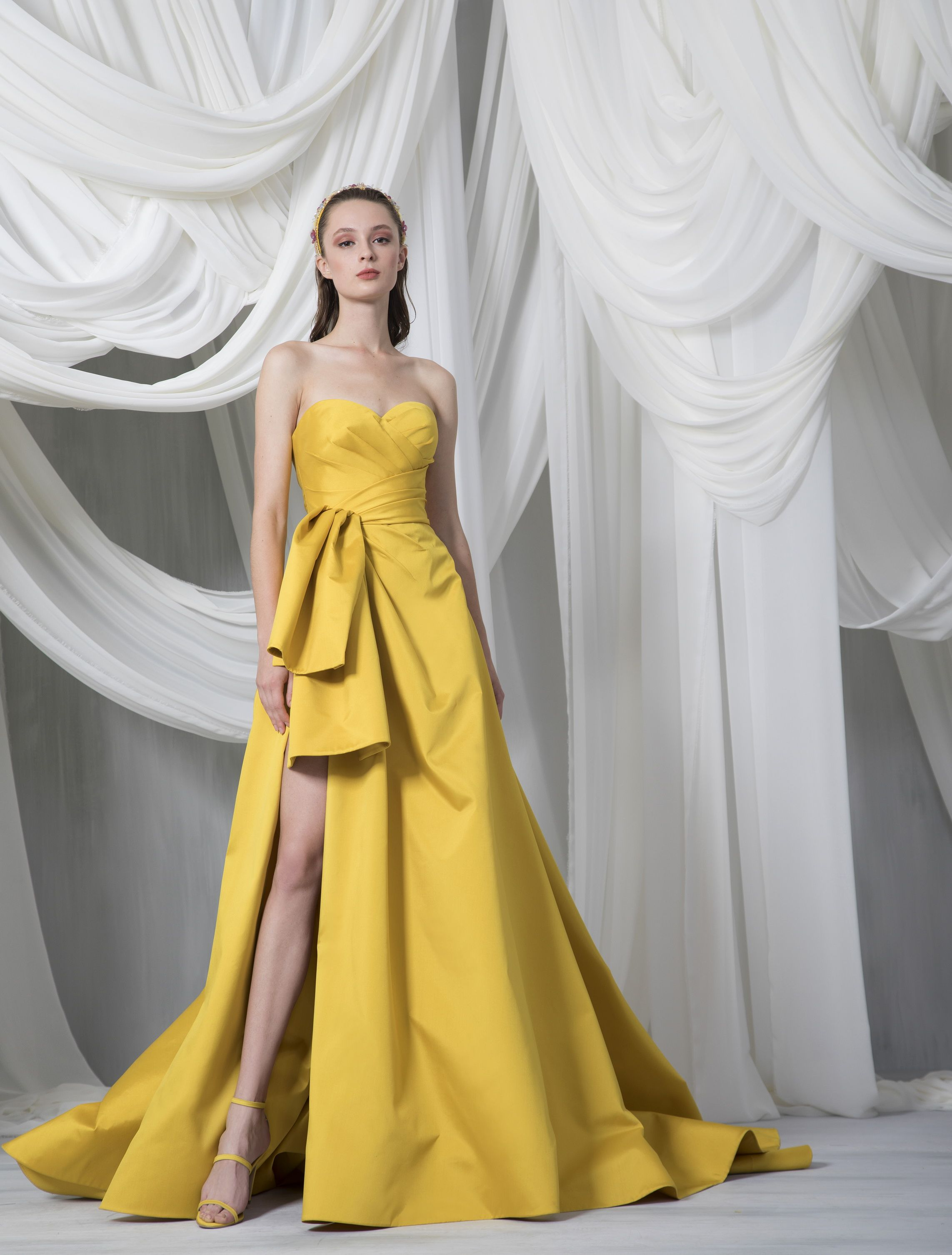 RTW Spring~Summer 8  Korean fashion dress, Yellow evening gown