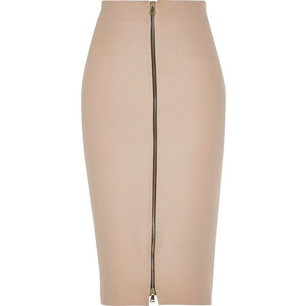 River Island Nude pink zip front pencil skirt ($70) ❤ liked on ...