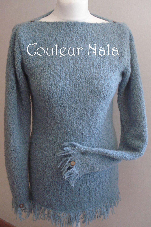 Tricot femme pull tunique tricot la main franges tricot main en alpaca boucl taille 40 - Tricot a la main ...
