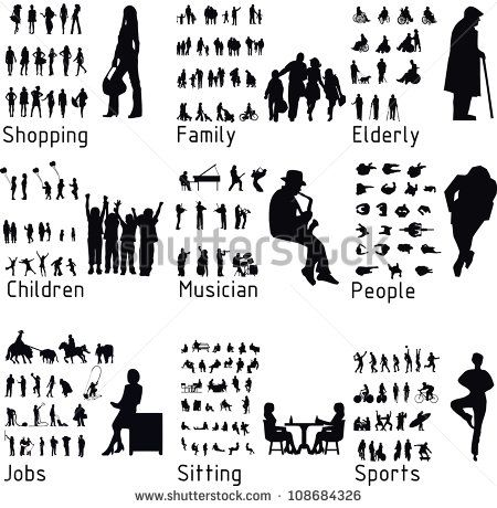 Free Vector Set Silhouettes Of People Including Lots Of People In Groups And Couples Most Of People Silhouette People Person Silhouette People Illustration