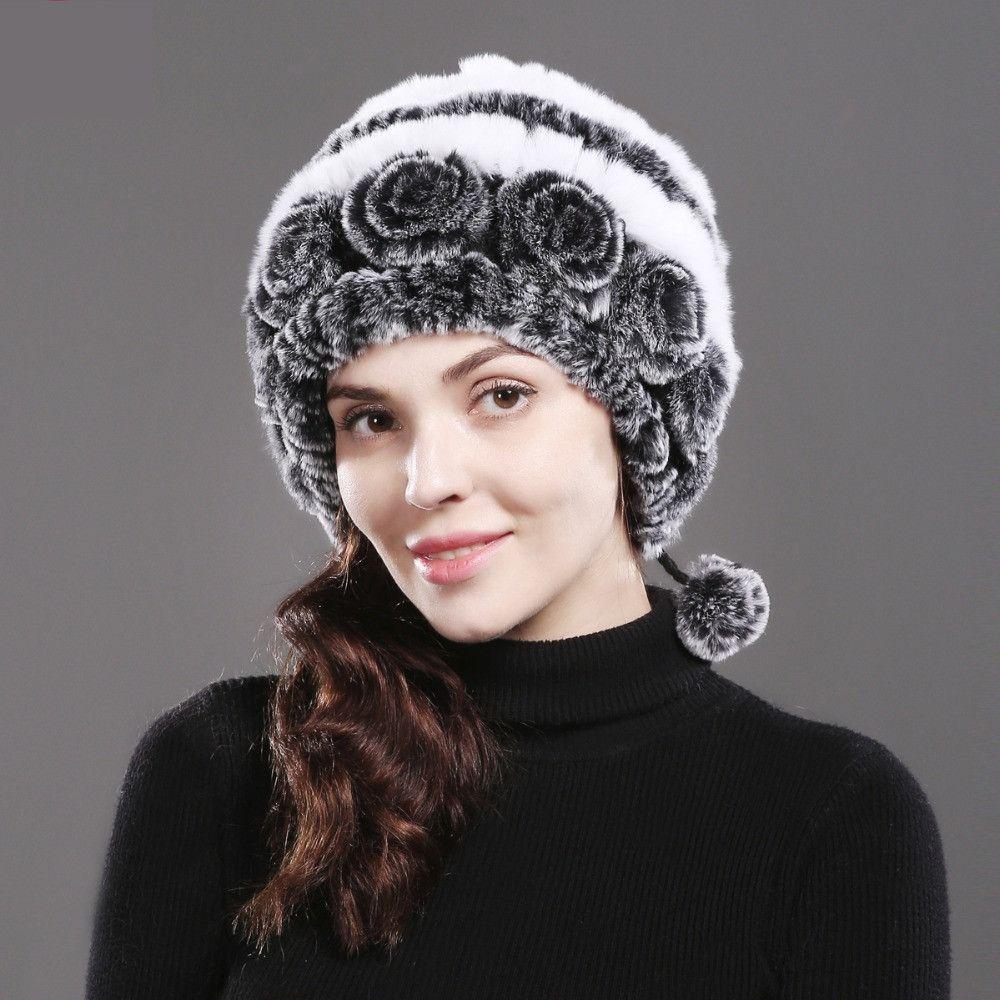 20fa2e6cee6 Women fur hat for winter natural rex rabbit fox fur cap russian female fur  headgear fashion warm beanies cap