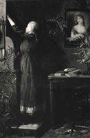 Interior med ung pige der raekker ud efter en bog by Elise Konstantin Hansen