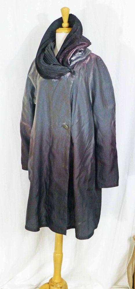 42666e67f3094 MYCRA PAC DONATELLA OMBRE METAL PEWTER GRAPE PLEATED HOOD REVERSIBLE COAT  0-P LN  MycraPac  Raincoat