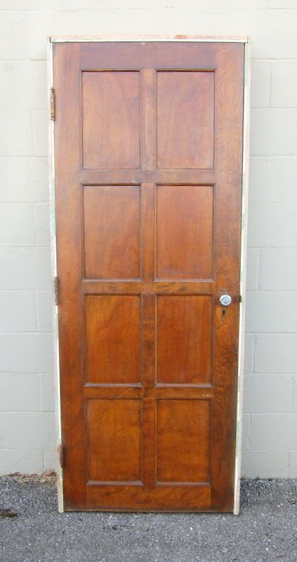 Original Antique 30 X 80 8 Panel Birch Door In Jamb Architectural Salvage Architectural Salvage Doors Paneling