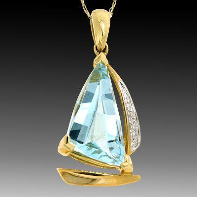 Sailboat Pendant- Blue Topaz and Diamonds!