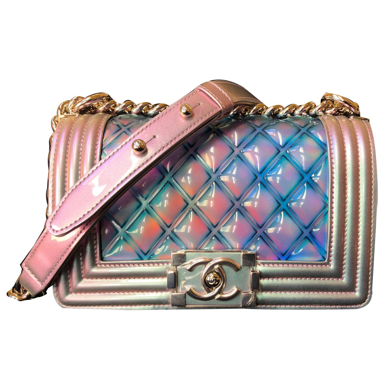 d3b1141798ef Sacs à main Chanel Small boy bag Cuir vernis Multicolore ref.67993 - Joli  Closet