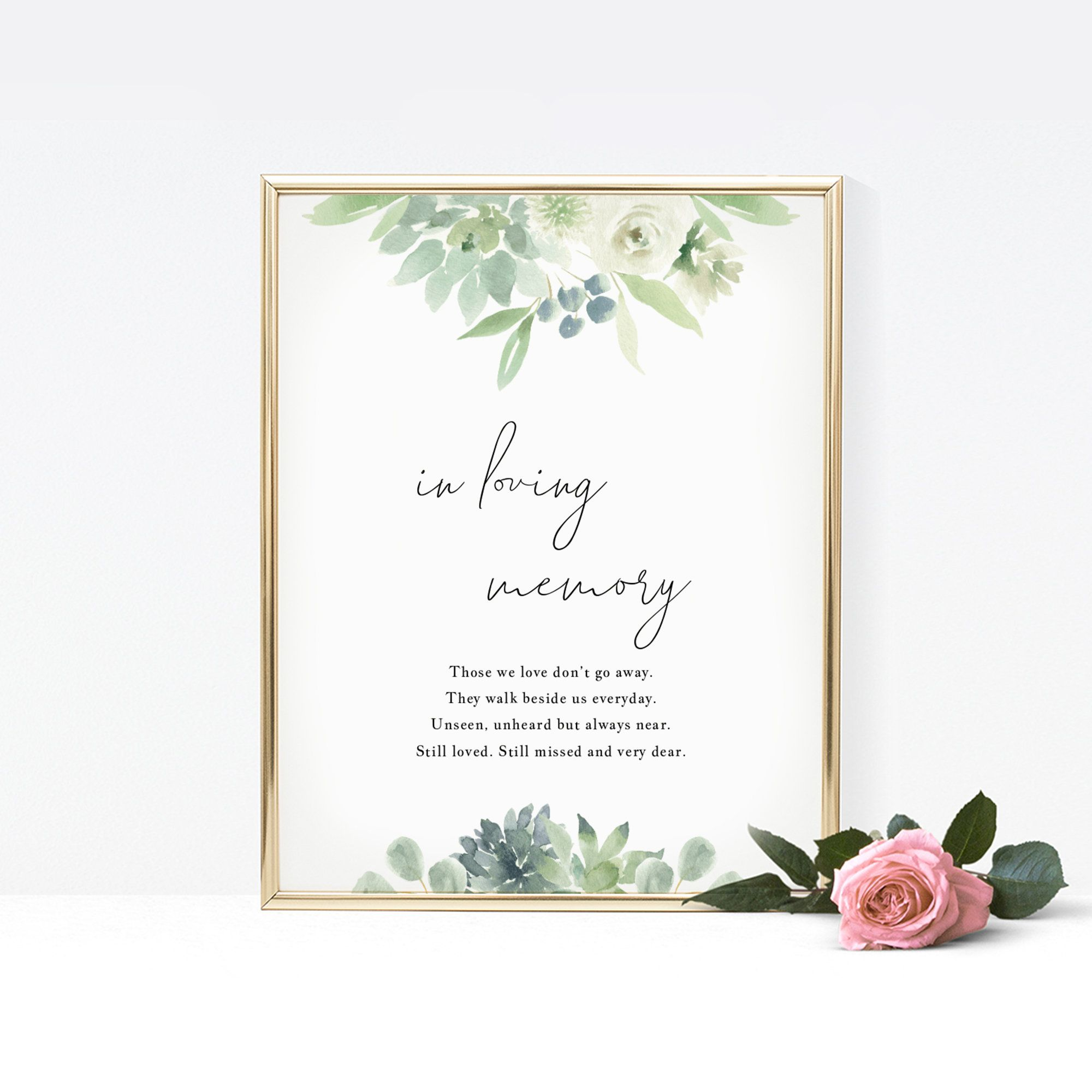 Succulents In Loving Memory Sign Template, Printable In