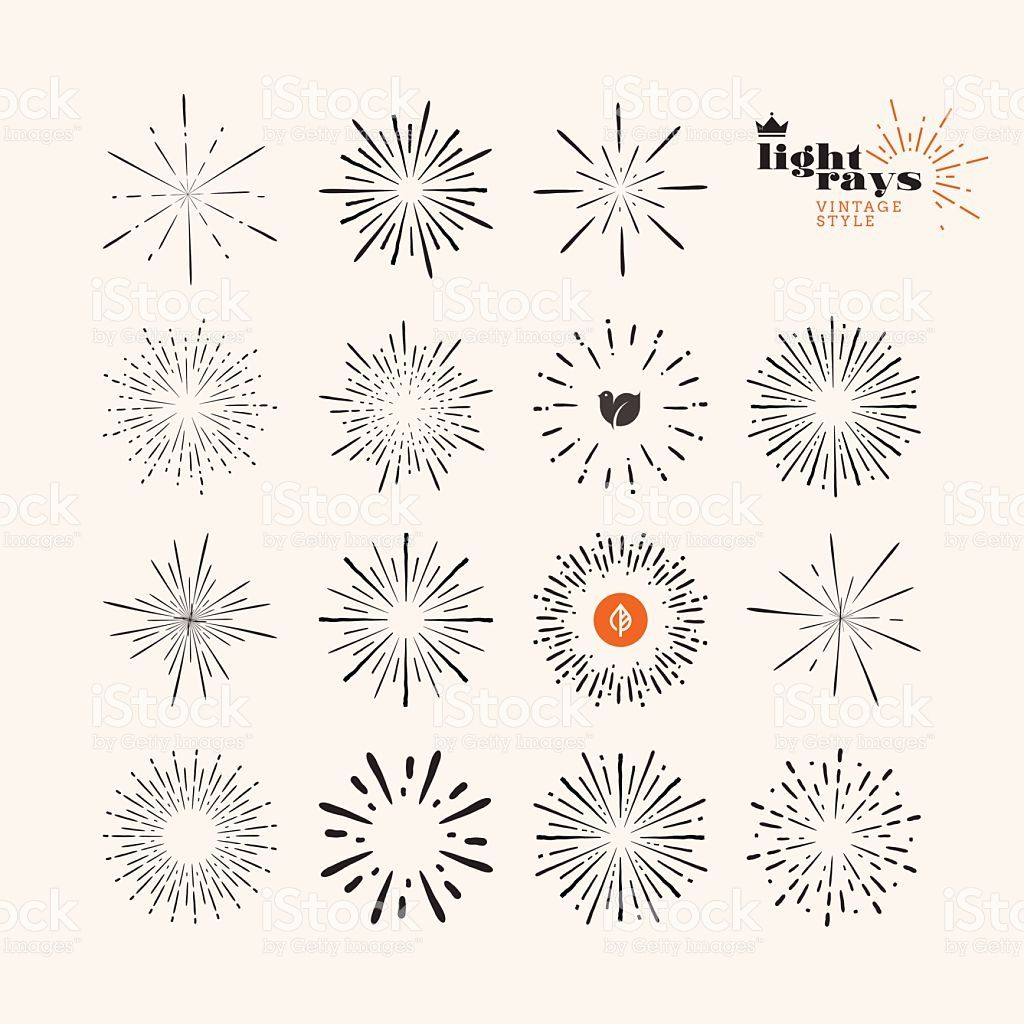 Vector illustration, hand drawn, sunburst elements and icons for... キラキラ