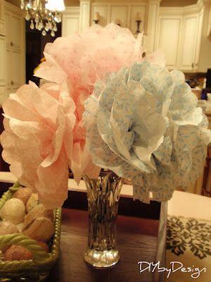 Jättikukat oksiin paperilautasliinoista; pitää etsiä sopivan värisiä - hempeitä vai hurjia?