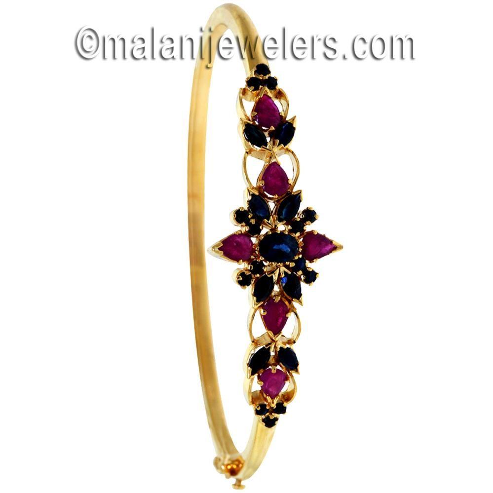 Gold Ruby Sapphire Bangle Bracelet