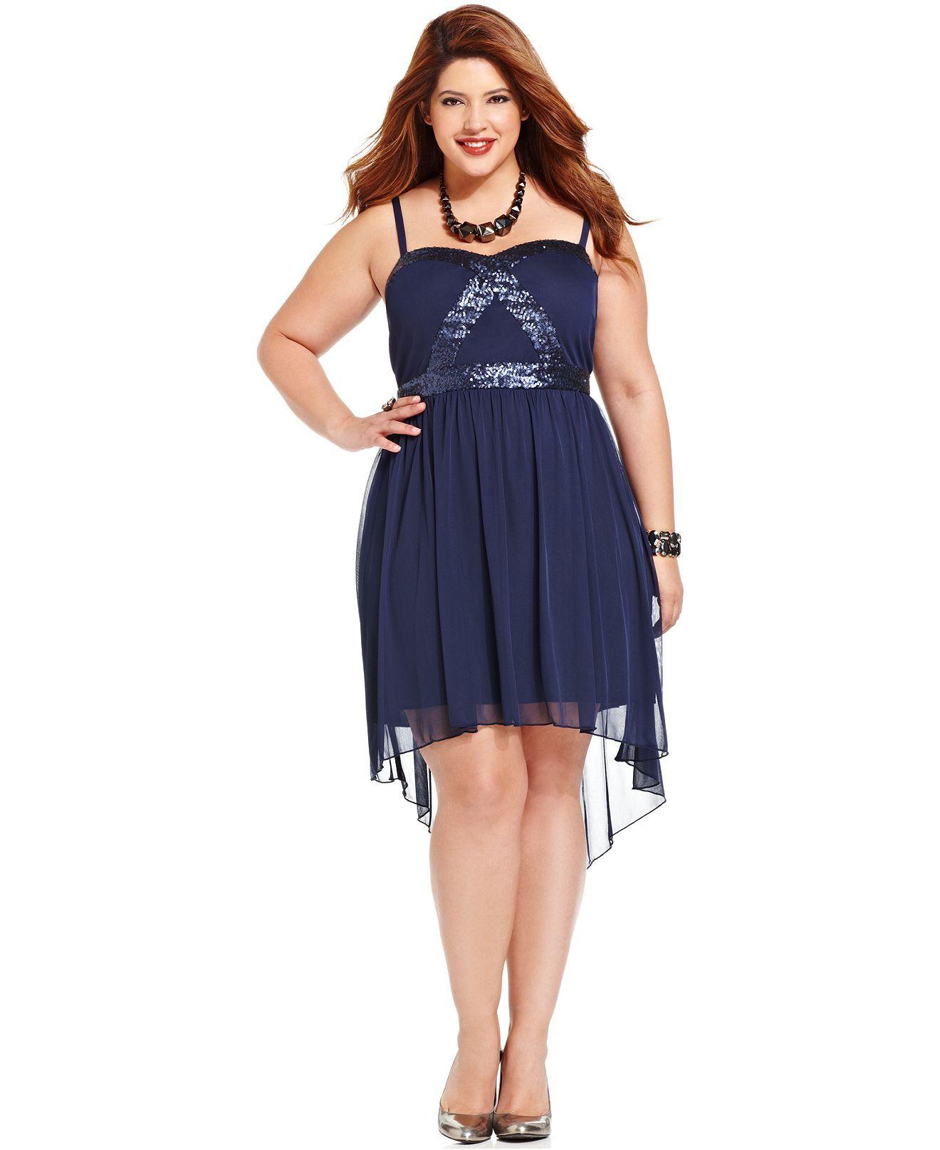Trixxi Plus Size Sleeveless Sequin High-Low Dress - Plus ...