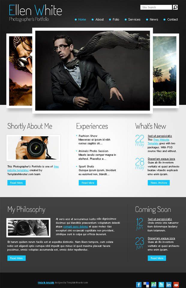 Free Website Template. Start Photographer's Portfolio | Free website ...